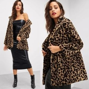 Faux Fur Leopard Print Jacket Fully Lined 2 Pocket